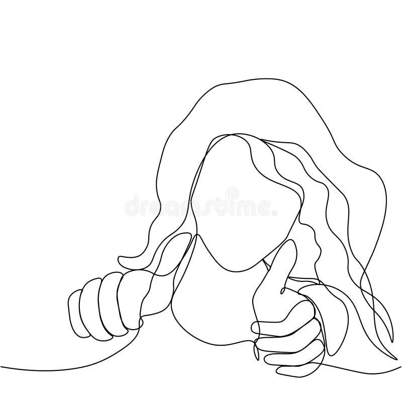 Het meisje toont als Het gezicht en de duim omhoog, door één zwarte ononderbroken lijn wordt getrokken die Meisje dat aan muziek  royalty-vrije illustratie