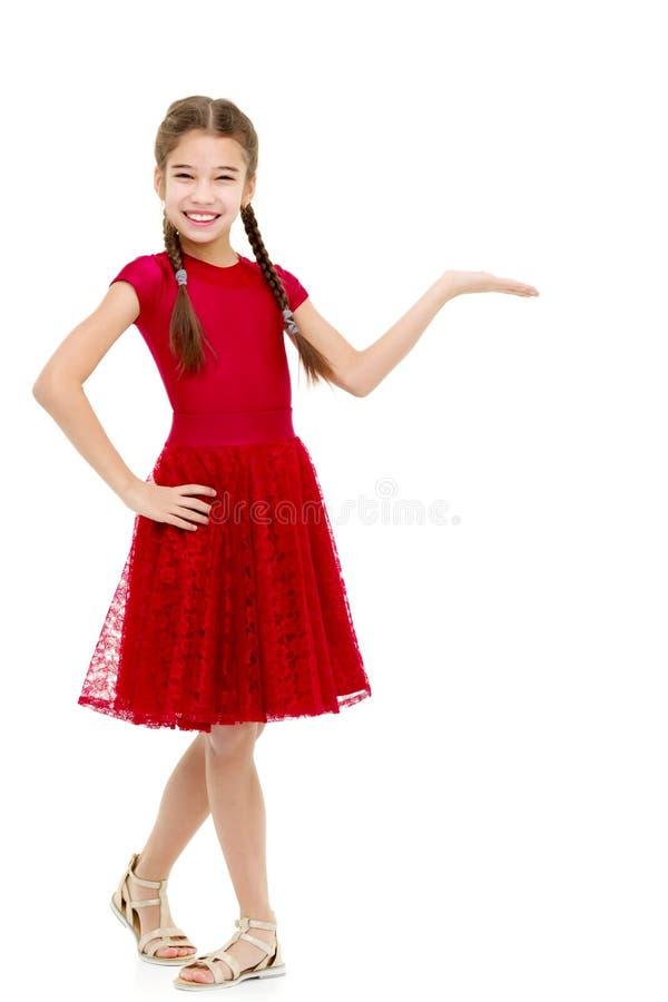 Het meisje toont een vinger stock afbeelding