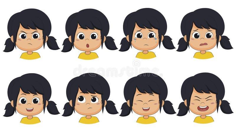 Het meisje toont uitdrukking zoals boos, verrast, schreeuw, vrees, glimlach, denkt vector illustratie