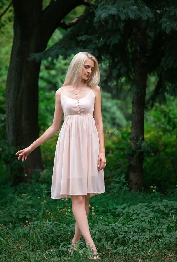 Het meisje in transparante kleding stock fotografie
