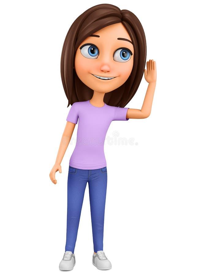 Het meisje van het beeldverhaalkarakter luistert het nieuws op een witte achtergrond af het 3d teruggeven Illustratie voor reclam stock illustratie