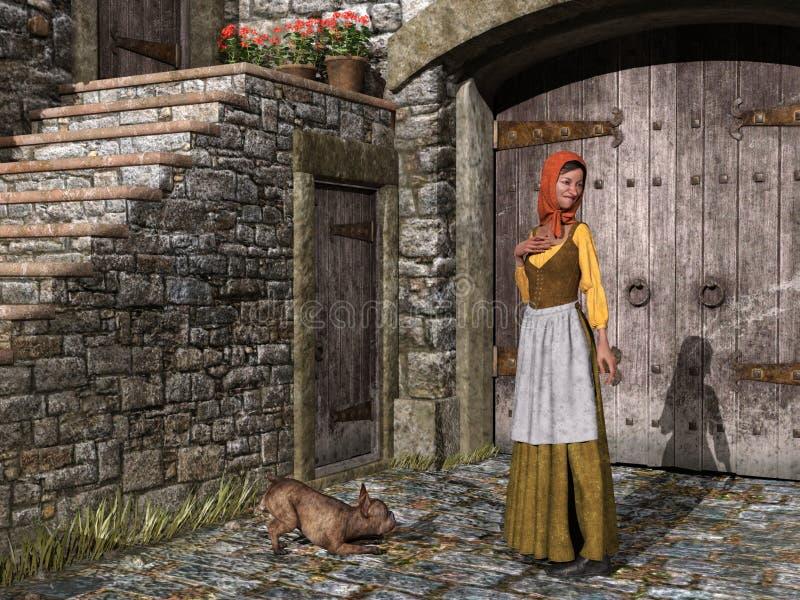 Het Meisje van het boerlandbouwbedrijf, Land, Hond, Illustratie stock illustratie