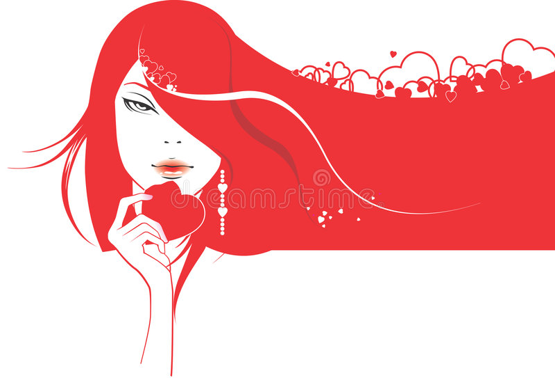 Het meisje van de aantrekkingskracht met hart royalty-vrije illustratie