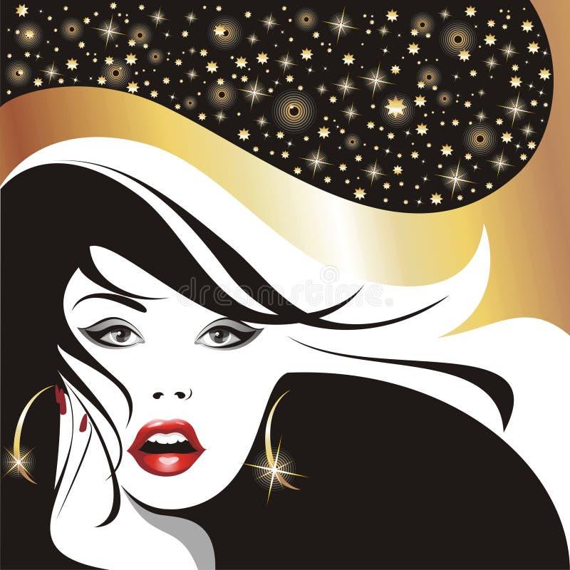 Het meisje van de aantrekkingskracht met het ontwikkelen van haren. royalty-vrije illustratie