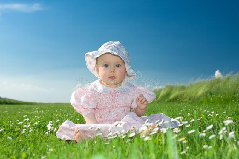 Het meisje van de baby dat op bloemrijk gebied wordt gezeten stock fotografie