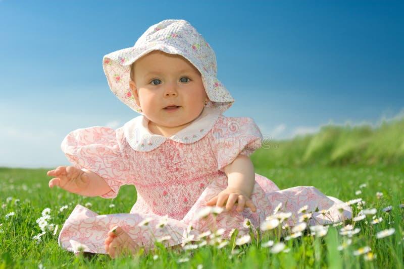 Het meisje van de baby dat op bloemrijk gebied wordt gezeten royalty-vrije stock afbeeldingen