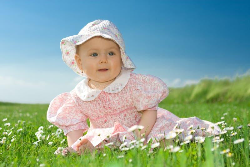 Het meisje van de baby dat op bloemrijk gebied wordt gezeten royalty-vrije stock afbeelding