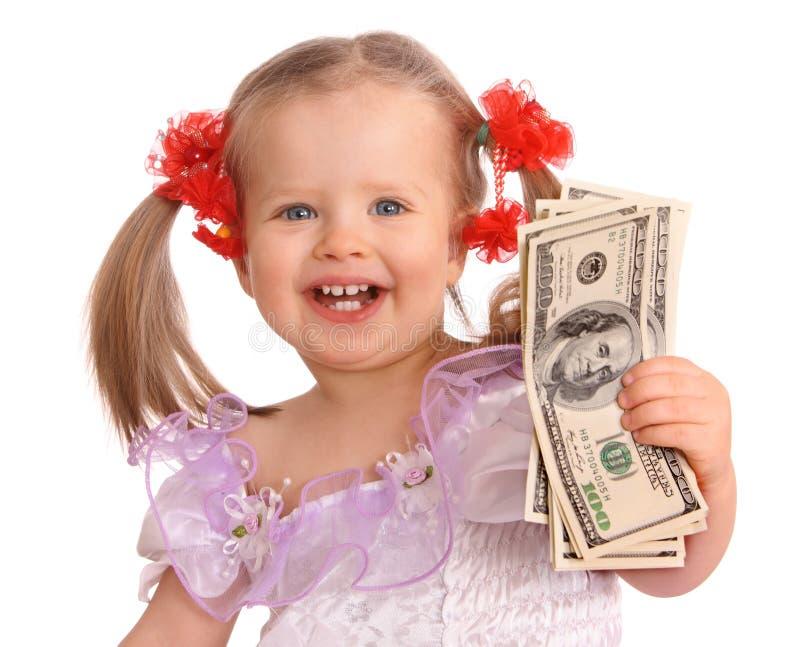 Het meisje van de baby met dollarbankbiljet. royalty-vrije stock foto