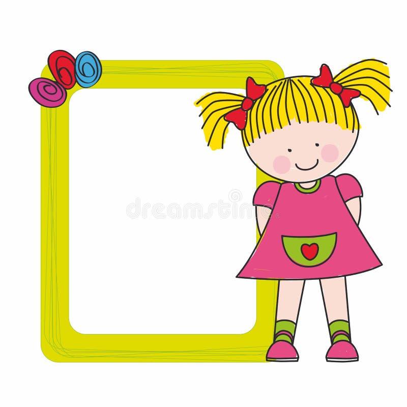 Het meisje van de baby met een frame vector illustratie