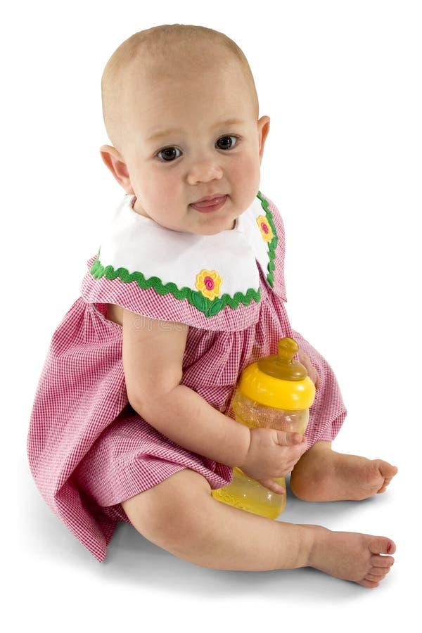 Het Meisje van de baby met Fles royalty-vrije stock foto