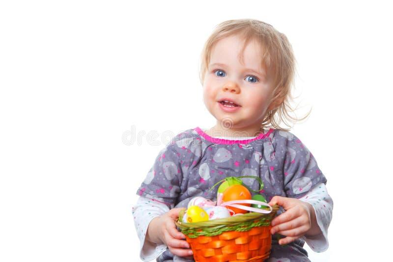 Het meisje van de baby met paaseieren royalty-vrije stock foto