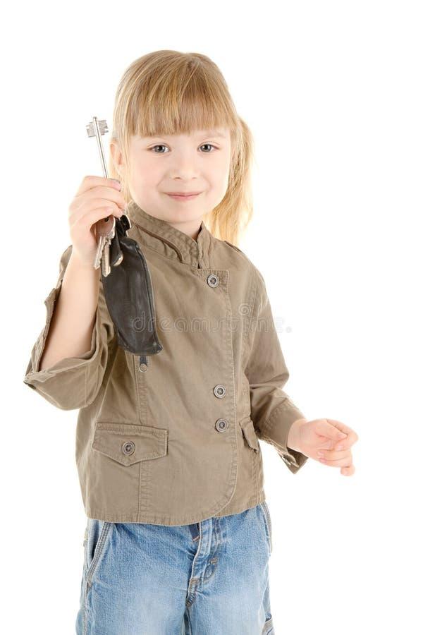Het meisje van de baby met sleutel royalty-vrije stock foto's