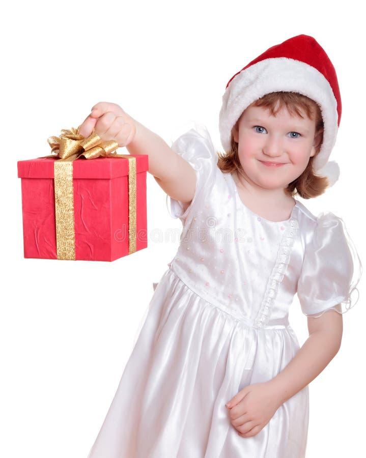 Het meisje van de baby in van de de hoedenholding van de Kerstman de giftdoos royalty-vrije stock afbeeldingen