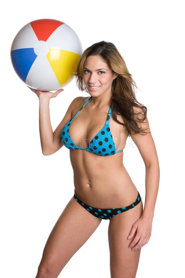 Het Meisje van de Bal van het strand royalty-vrije stock foto's