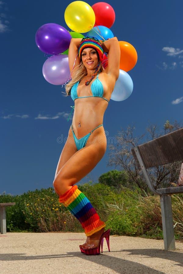 Het meisje van de Ballon van de bikini royalty-vrije stock afbeeldingen