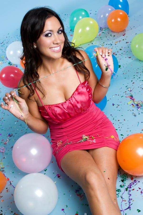 Het Meisje van de Ballons van de partij royalty-vrije stock afbeelding