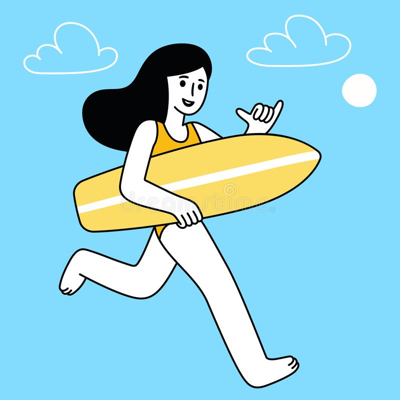 Het meisje van de beeldverhaalsurfer stock illustratie