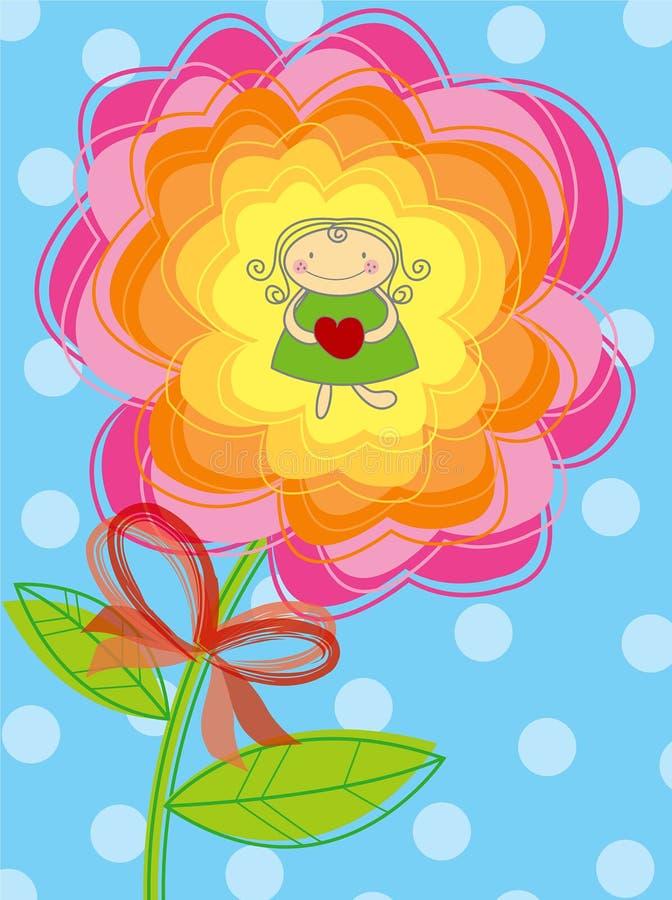 Het meisje van de bloem met hart royalty-vrije illustratie