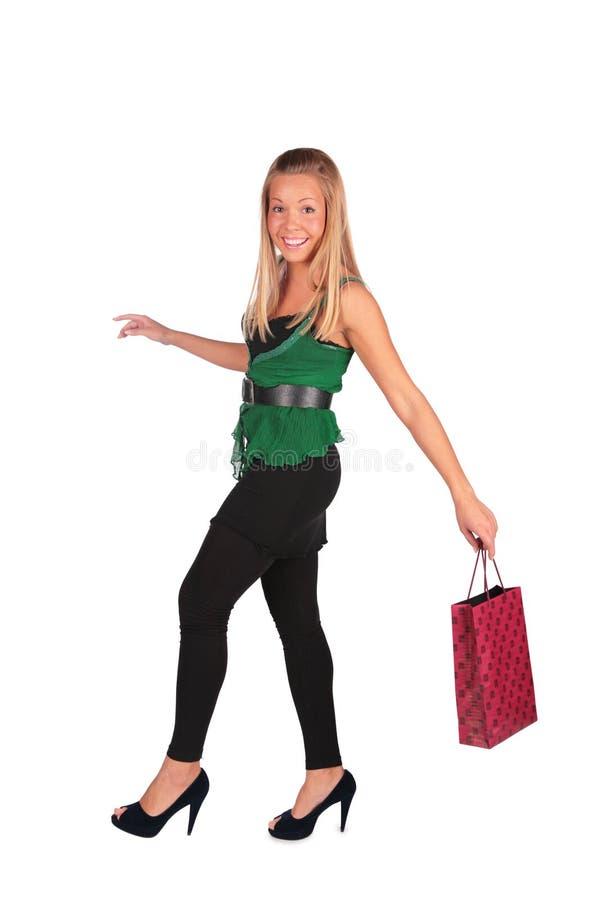 Het meisje van de blonde met zak royalty-vrije stock foto's