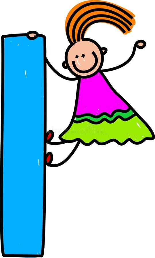 Het meisje van de brief L stock illustratie
