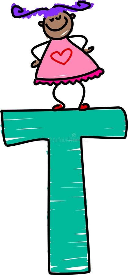 Het meisje van de brief T stock illustratie