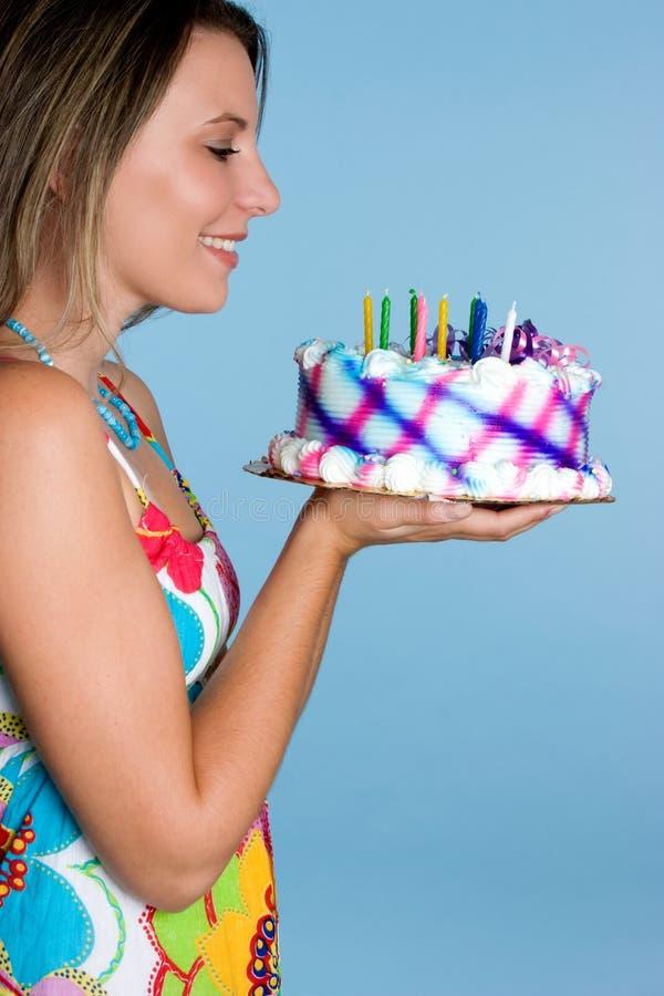 Het Meisje van de Cake van de verjaardag stock afbeelding