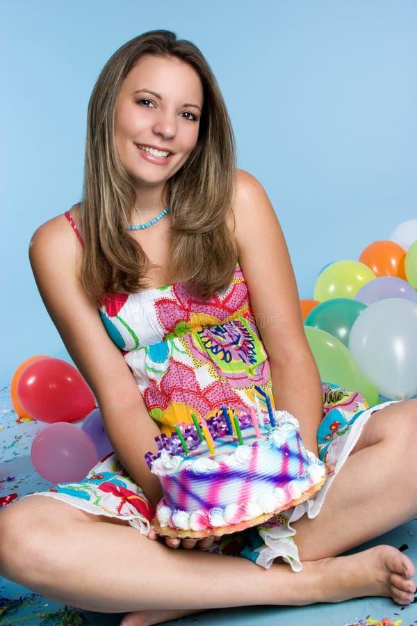 Het Meisje van de Cake van de verjaardag royalty-vrije stock afbeelding