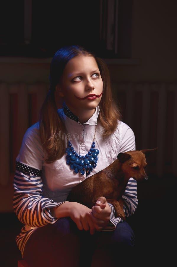Het meisje van de clowntiener royalty-vrije stock fotografie