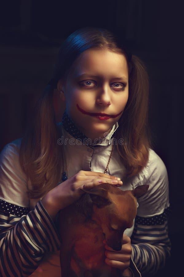 Het meisje van de clowntiener stock fotografie