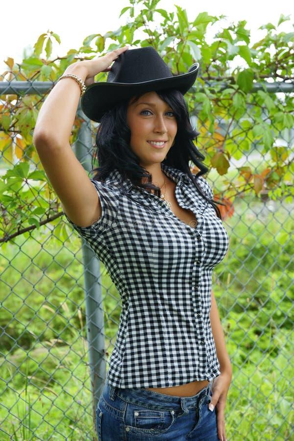 Het meisje van de cowboyhoed royalty-vrije stock fotografie