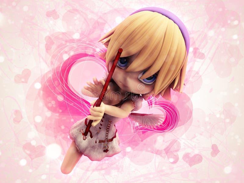 Het meisje van de Cupido op roze achtergrond royalty-vrije illustratie