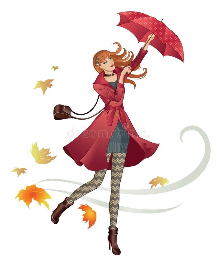 Het meisje van de de herfstmanier stock illustratie
