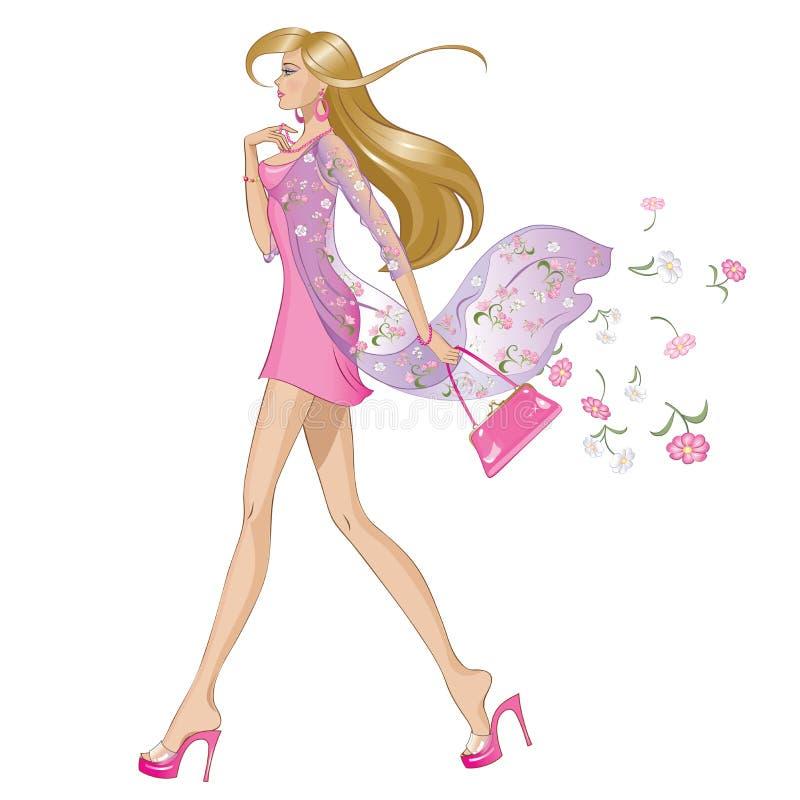Het meisje van de de lentemanier vector illustratie