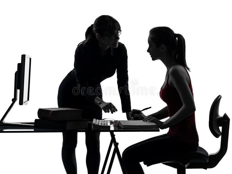 Het meisje van de de moedertiener van de leraarsvrouw het bestuderen stock afbeeldingen