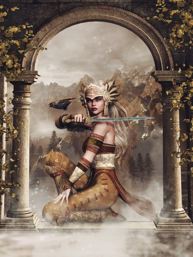 Het meisje van de fantasiestrijder met een raaf stock illustratie