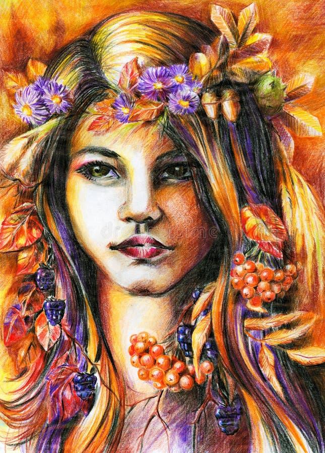 Het meisje van de herfst. stock illustratie