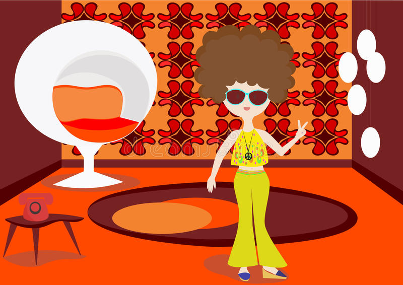 Het meisje van de hippie stock illustratie