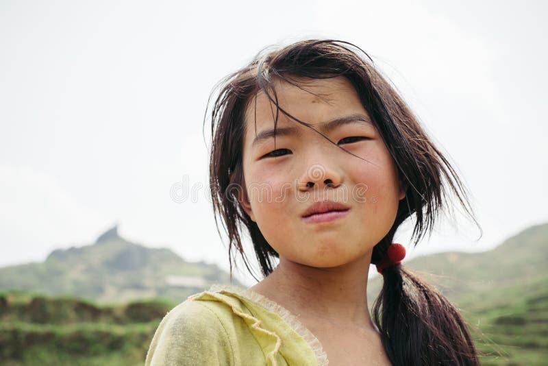 Het meisje van de Hmongstam op padiegebied stock afbeeldingen