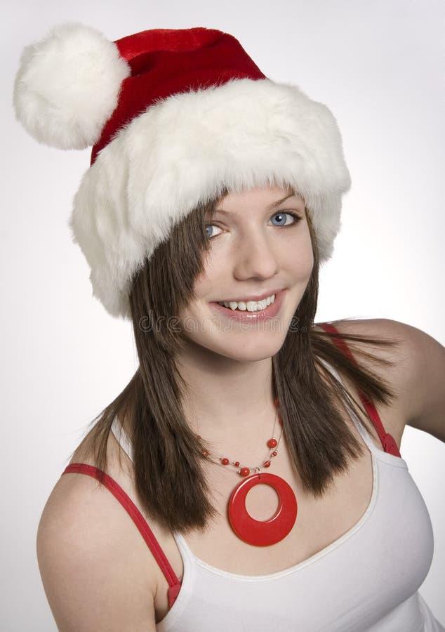 Het Meisje van de Hoed van de kerstman stock fotografie