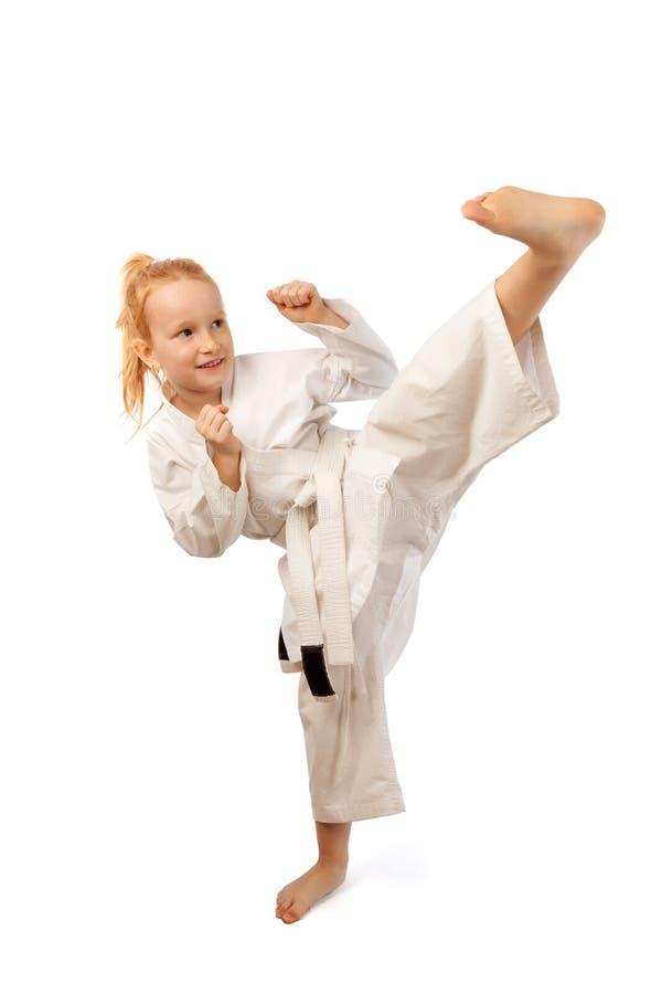 Het meisje van de karate stock afbeeldingen