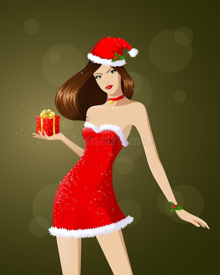 Het meisje van de kerstman stock illustratie