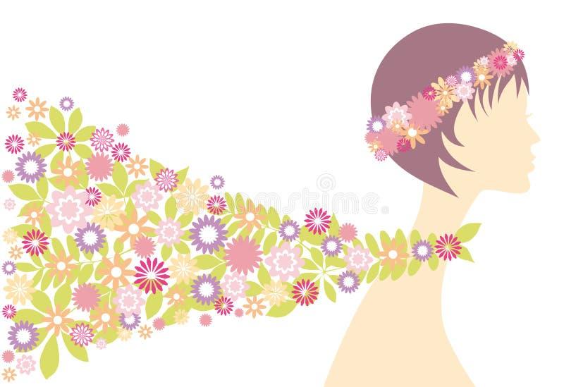 Het meisje van de lente met bloemen vector illustratie