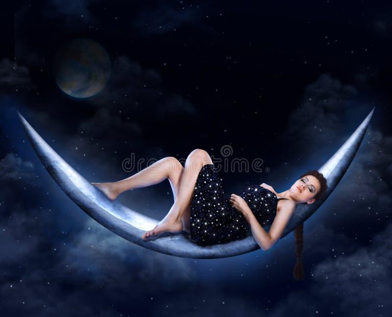 Het meisje van de maan royalty-vrije stock fotografie