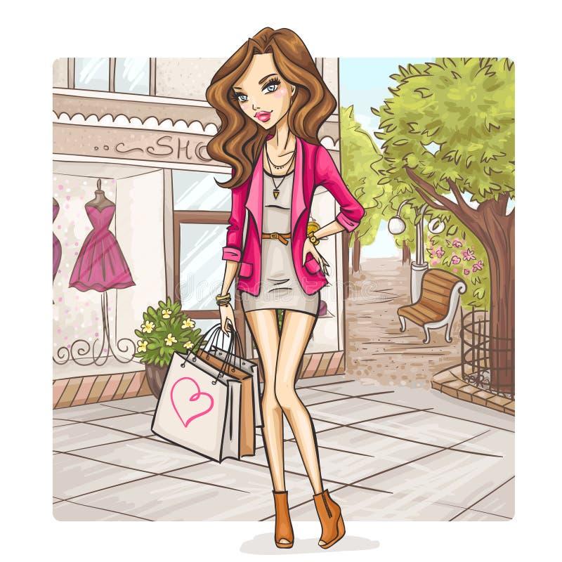 Het meisje van de manier bij het winkelen stock illustratie