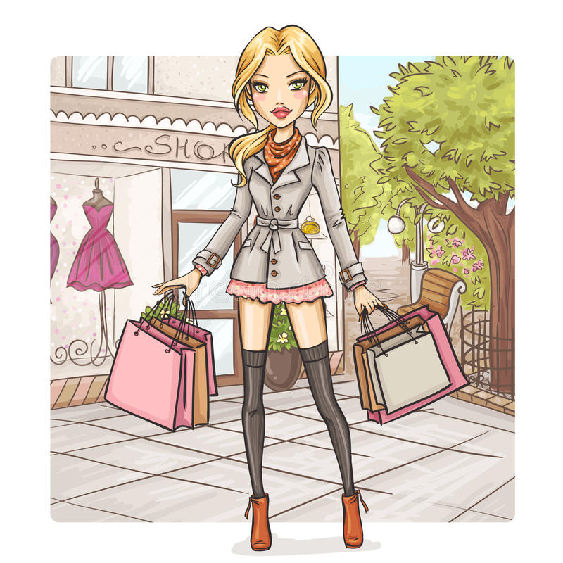 Het meisje van de manier bij het winkelen vector illustratie