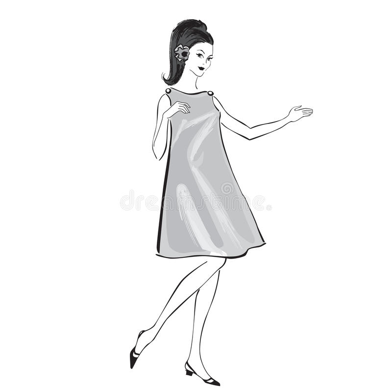 Het meisje van de manier (jaren '60stijl): Retro manierpartij vector illustratie