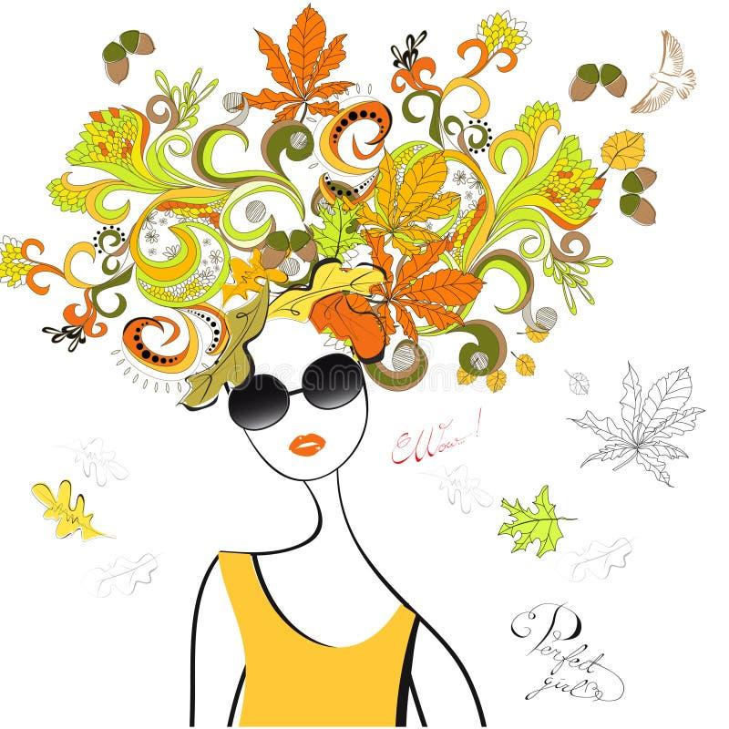Het meisje van de manier met de herfsthaar royalty-vrije illustratie