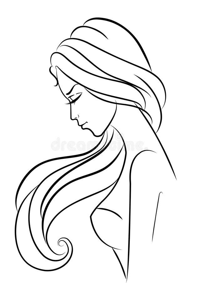 Het meisje van de manier op wit royalty-vrije illustratie