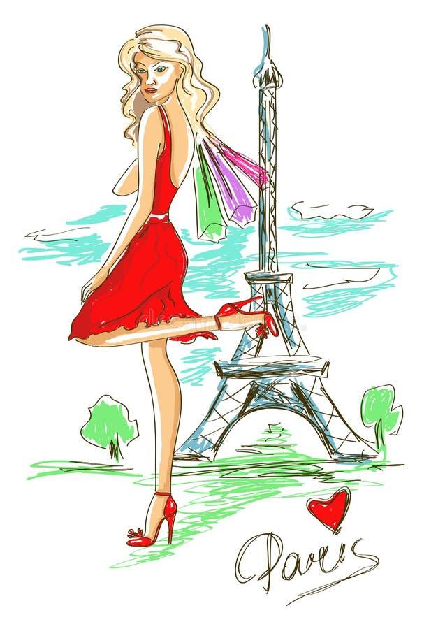 Het meisje van de manier in Parijs royalty-vrije illustratie