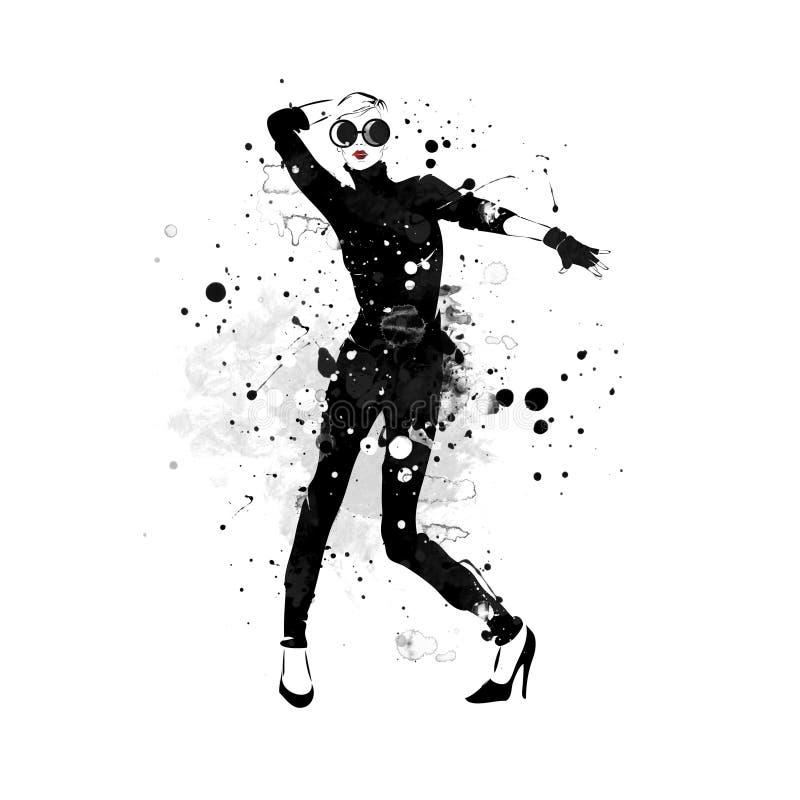Het meisje van de manier in schets-stijl royalty-vrije stock afbeeldingen